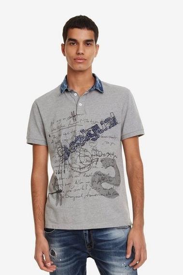 Camiseta Polo Caballero Textil Gris Desigual