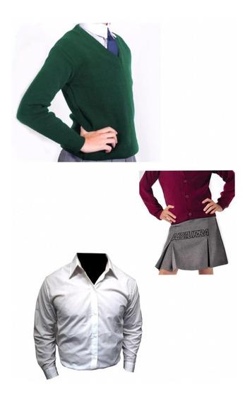 Combo Escolar Pullover + Camisa + Pollera - Talle Adulto