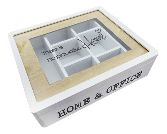 Caja De Te Madera Home Office 8 Divisiones Blanca