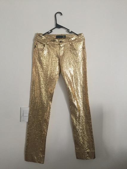 Pantalones Just Cavalli Dorados Con Foil Talla 28 O Chica