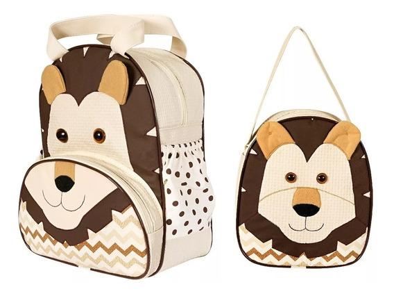 Kit Mochila Infantil Leão Zoo P + G - Bebê Escolar