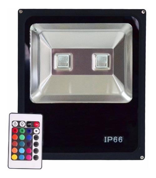 Refletor Holofote 20w Led Rgb Colorido C/ Controle + Forte