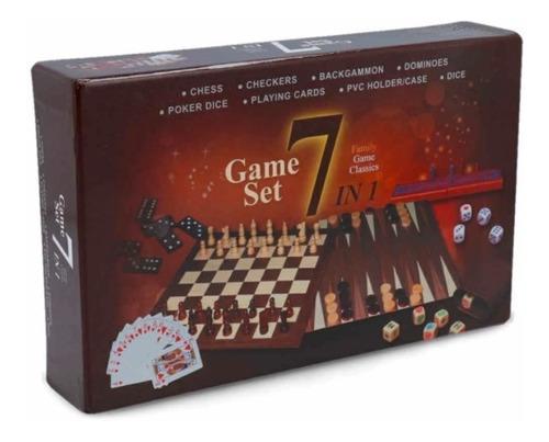 Juego De Mesa 7 En 1 Ajedrez Damas Backgammon Domino Crib