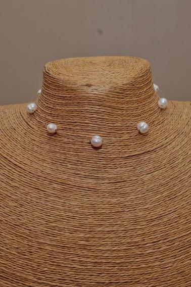 Collar Choker Invisible Perla