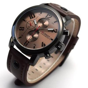 Relógio Masculino De Pulseira De Couro, Curren, Frete Grátis