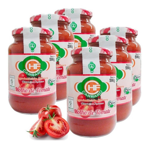 Molho De Tomate Orgânico Carraro 590g Polpa Tomate E Sal 6un