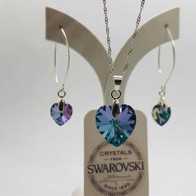 Joyas Swarovski Corazón Cristal Y Plata Vitrail Light