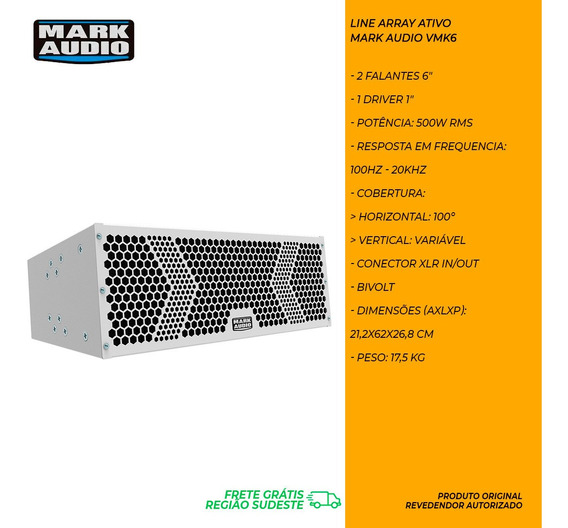 Caixa Line Array Mark Audio By Attack Vmk6 Ativo 500w Branco