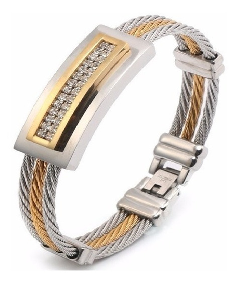 Pulseira Unissex Aço Inoxidável 316l Banhada 18k Bracelete