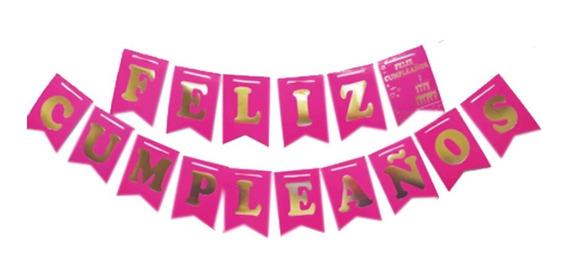Banderín Feliz Cumpleaños Fucsia Flúor - Ciudad Cotillón