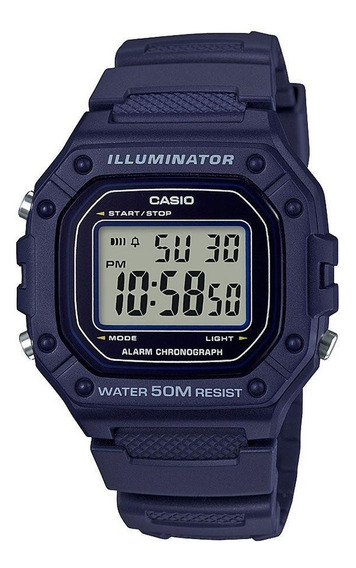 Relógio Casio Masculino Digital Azul Standard W-218h-2avdf