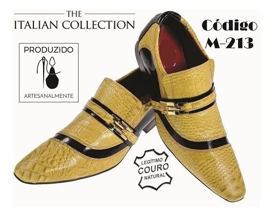 Sapato Masculino Em Couro De Jacaré Amarelo Ref: 213