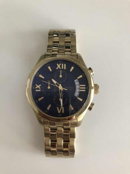 Relógio Guess Aço Dourado Com Fundo Azul