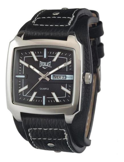 Relógio Pulso Everlast Masculino Aço Couro Calendário E349