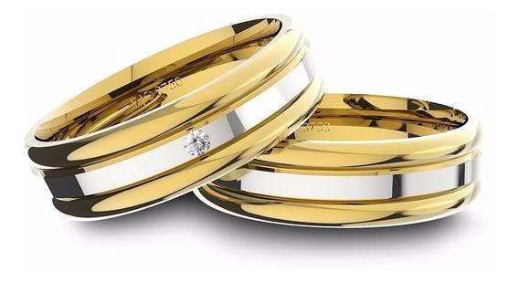 Alianças De Ouro 18k Amarelo E Ouro 18k Branco Com Diamante