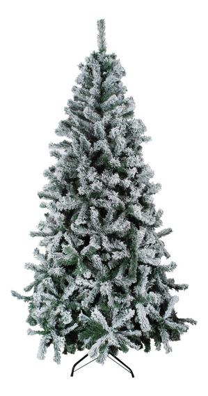 Arbol 210cm 1100 Ramas Efecto Nieve Base Metalica Navidad -