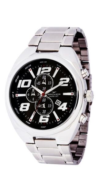 Relógio Backer Masculino 11006653m Pr Cronógrafo Prateado