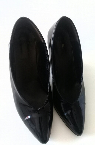 Zapatos Stiletto Charol Negro Mujer