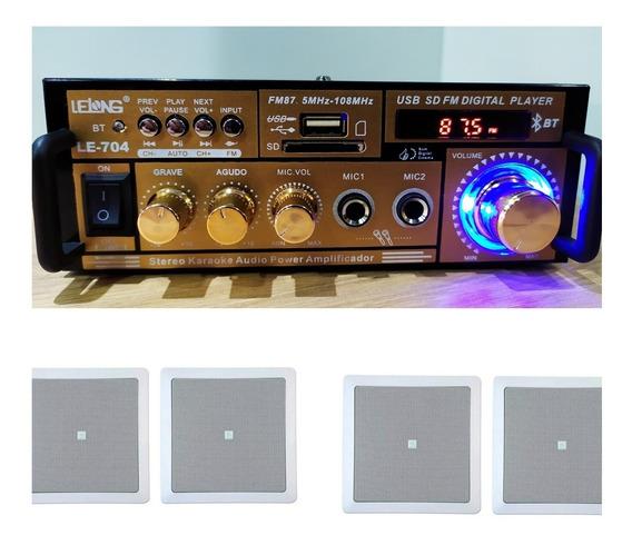 4 Caixa Embutir Jbl + Amplificador Bluetooth Usb + Fonte