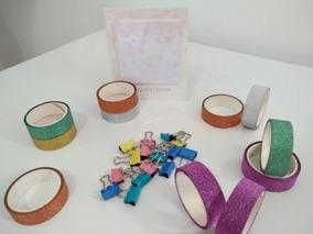 Kit 5 Washi Tape Glitter+15 Prendedores + 1 Post It Sakura