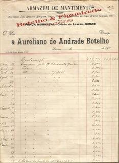 Antiguidade: Fatura Botelho & Figueiredo Lavras Minas Gerais