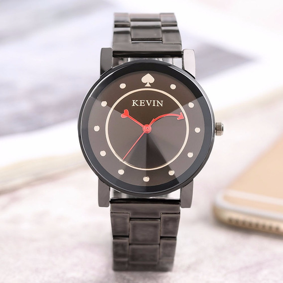 Relógio Feminino Kevin Quartz Pulseira Metal Cromado Preto