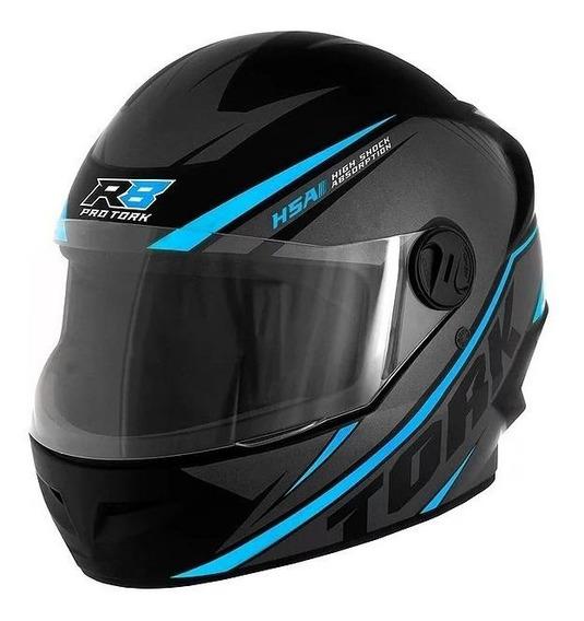 Capacete para moto integral Pro Tork R8 preto/azul-claro S