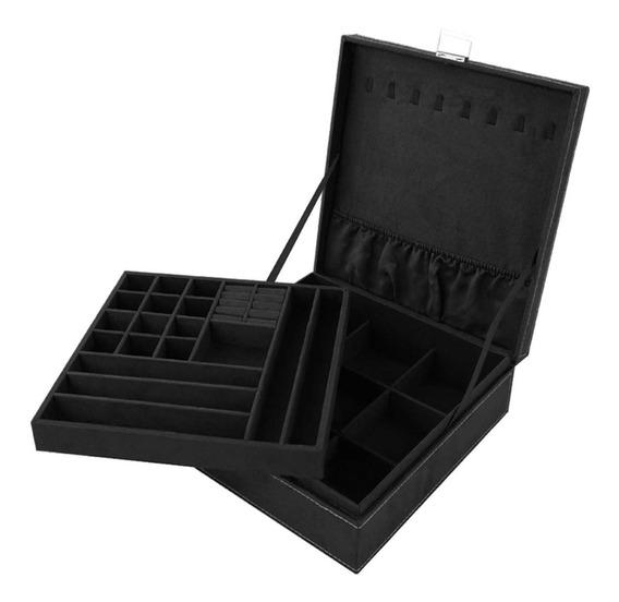 Joyero Caja Alhajero Con Llave 2 Capas 36 Compartimentos Ngr