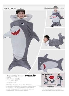 Manta Cobertor Saco De Dormir Tubarão Infantil 1,40 X 60