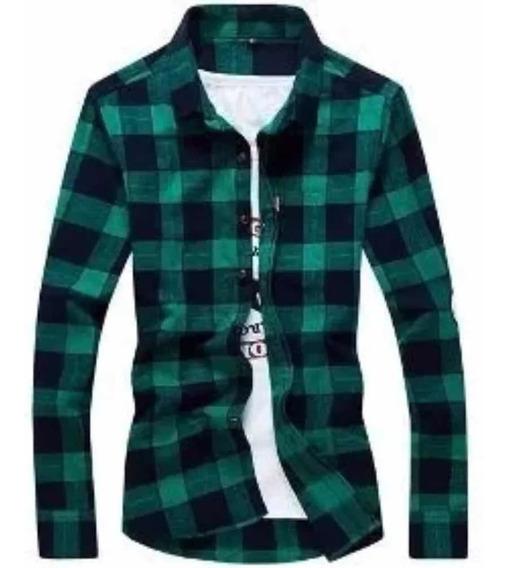 Camisa - Cuadros - Escocesa - Hombre - Verde Y Negro - 2019