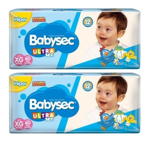 Kit Fralda Babysec Ultrasec  Xg 60 Und  Kit C/2 Pacotes