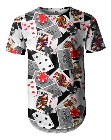 Camiseta Masculina Longline Swag Poker Baralho E Fichas