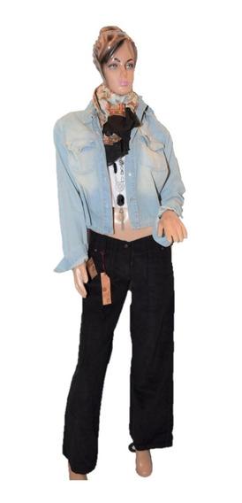 47 Street Pantalon De Corderoy Negro Corte Boyfriend Amplio