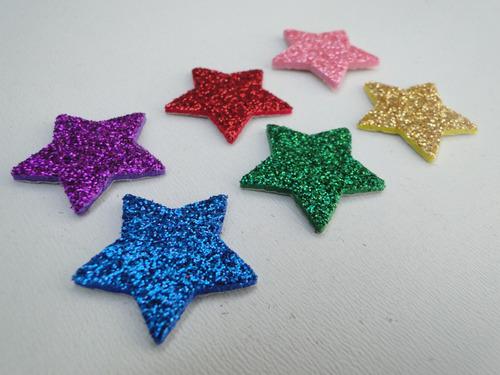 20 Adesivos Pet Estrelas 2,5cm Piercings Lacinhos Eva Com Glitter Para Petshop Cães E Gatos Banho E Tosa