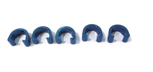Imagem 1 de 1 de Presilha Clip Fixador Conduite Hidraulico Aluminio Azul.