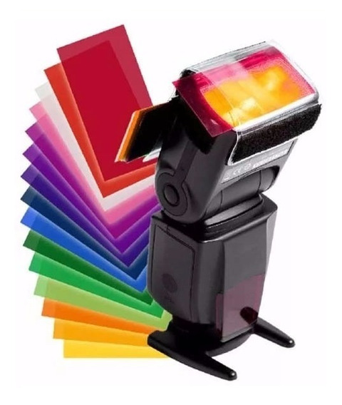 Difusor Para Flash Speedlite Com 12 Cores Em Gel Colorido