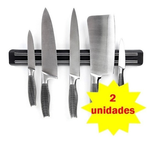 2 Barra Magnetica De Cozinha Ima Para Facas Parede 33cm
