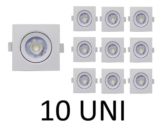 Kit 10 Spot Quadrado Embutir Direcionável Led 3w Quente