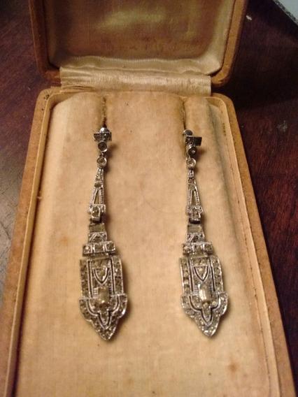 Aros Pendientes Platino Diamantes Art Decó Años 30 Francia