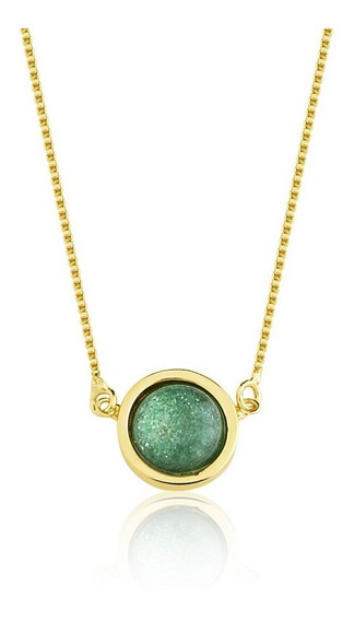 Colar Semijoia Pedra Redonda Duplo Ouro 18k E Quartzo Verde