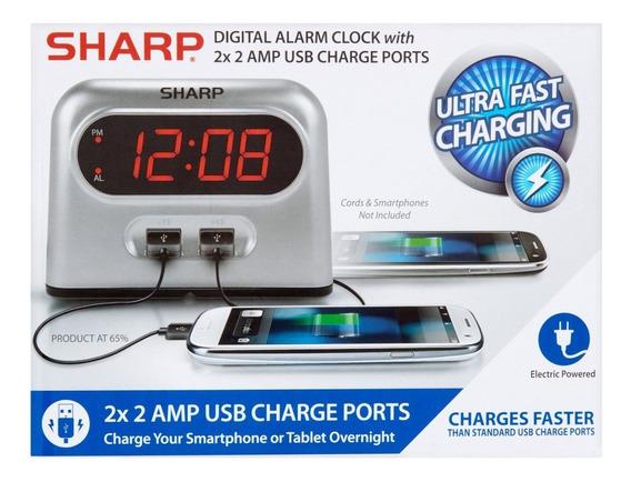 Reloj Despertador Sharp Digital Con 2 Conexiones Usb