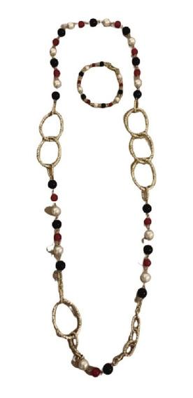 Set Collar Pulsera De Perlas Y Cadenas Inoxidables