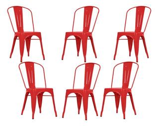 Silla Tolix Reforzada Roja Metalica Int / Ext Deco X 6