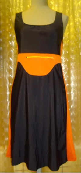 Vestido Deportivo Lycra Negro Y Naranja Sans Doute