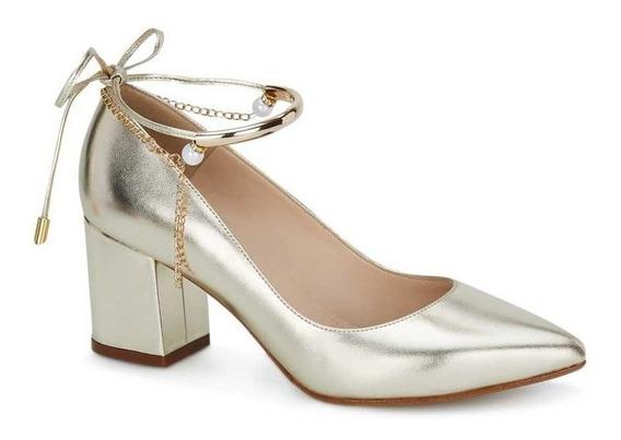 Zapatos Andrea Oro Con Pulsera Tacón Ancho 2604725 Mod. 2781
