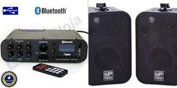 Amplificador Ab100bt Nca (bluetooth) + Par Caixa Sp400 Preta