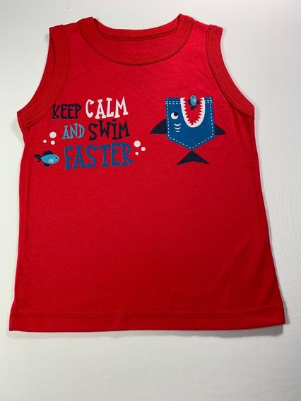 Camiseta Regata Infantil Masculino Vermelho Tamanho: 2p