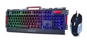 Kit Teclado Semi Mecânico Gamer Usb + Mouse 3200 Dpi Led Rgb