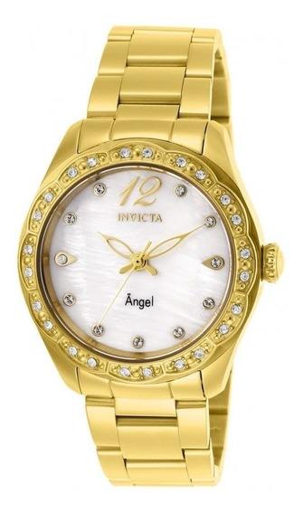 Relógio Invicta Angel Feminino 27446 Banhado Ouro18k Com Pedras Original Na Caixa