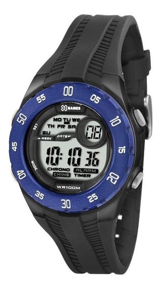 Relógio X-games Digital Masculino Xkppd024 Preto E Azul